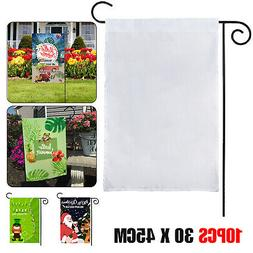 10pcs 30x45cm White Sublimation Blank Flag Polyester Garden