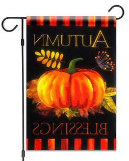 "Autumn Blessings Garden Flag 12""X18"" Fall Pumpkin and Leaves"