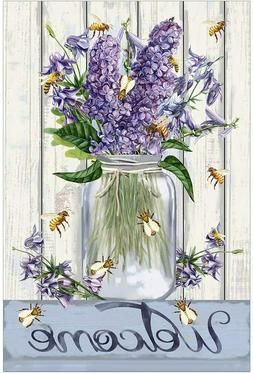 Morigins Bees and Flowers Mason Jar Welcome Spring Double Si