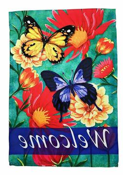 butterfly welcome garden flag double sided 12