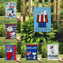 Decor Snoopy America Flags Signs Outdoor Banner/Flag Double