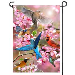 Anley Double Sided Premium Spring Garden Flower and Bird Fla