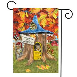 "Fall Nut House Squirrels Garden Flag Humor Autumn 12.5"" x 18"