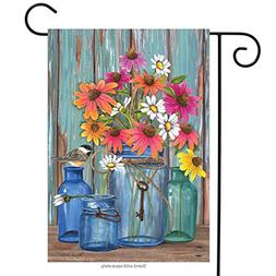 "Farm Fresh Flowers Spring Garden Flag Mason Jars 12.5"" x 18"""