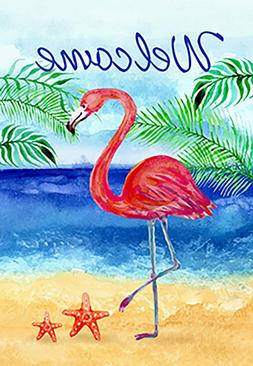 Morigins Flamingo Beach Summer Double Sided Welcome Tropical