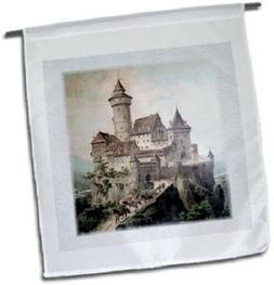 3dRose Garden Flag Castle and People on Horses - 12 x 18 inc