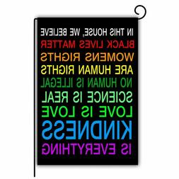 """Garden Flag Double Sided 12""""x18"""" House We Believe Black Live"""