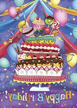 Morigins Happy Birthday Double Sided Colorful Cake Party Bal