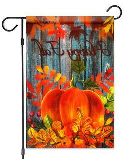 "Happy Fall Pumpkin Garden Flag 12""X18""  Fall Pumpkin & Leave"