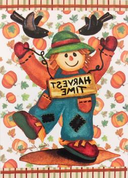 "Harvest Time Scarecrow Garden Flag 12""x18"" Fall Pumpkin Deco"