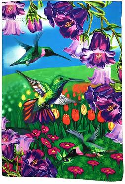 "Hummingbird Garden Flag Yard Decoration; 12"" x 18""; Double S"