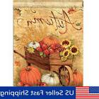 Autumn Pumpkin Cart Garden Flags Fall Sunflower Leaves Mini