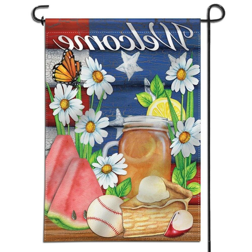 double sided garden flag american summer welcome