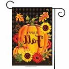 "Happy Fall Pumpkin Garden Flag Autumn Leaves 12.5"" x 18"" Bri"