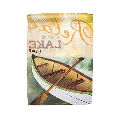 Lake Time Tranquil Suede Garden Flag