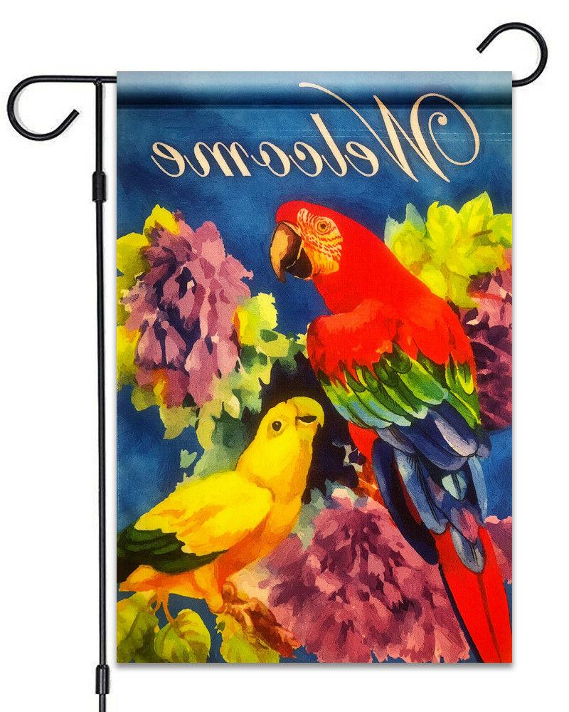 new parrots and flowers welcome garden flag