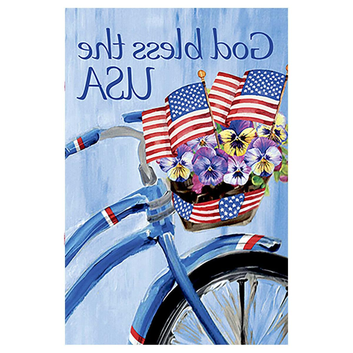 patriotic floral bicycle double sided god bless