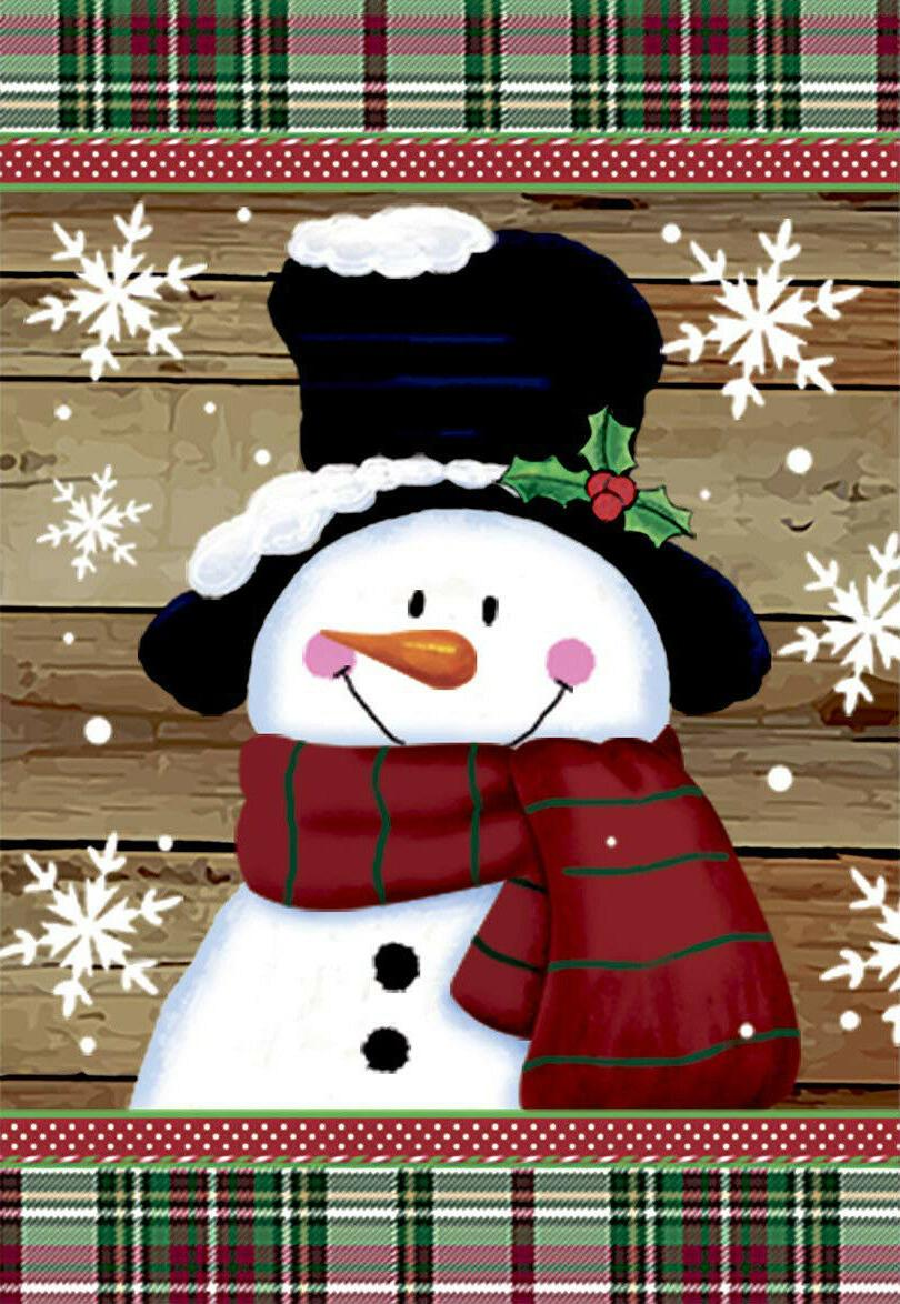 smile snowman with red scarf decorative snowflakes