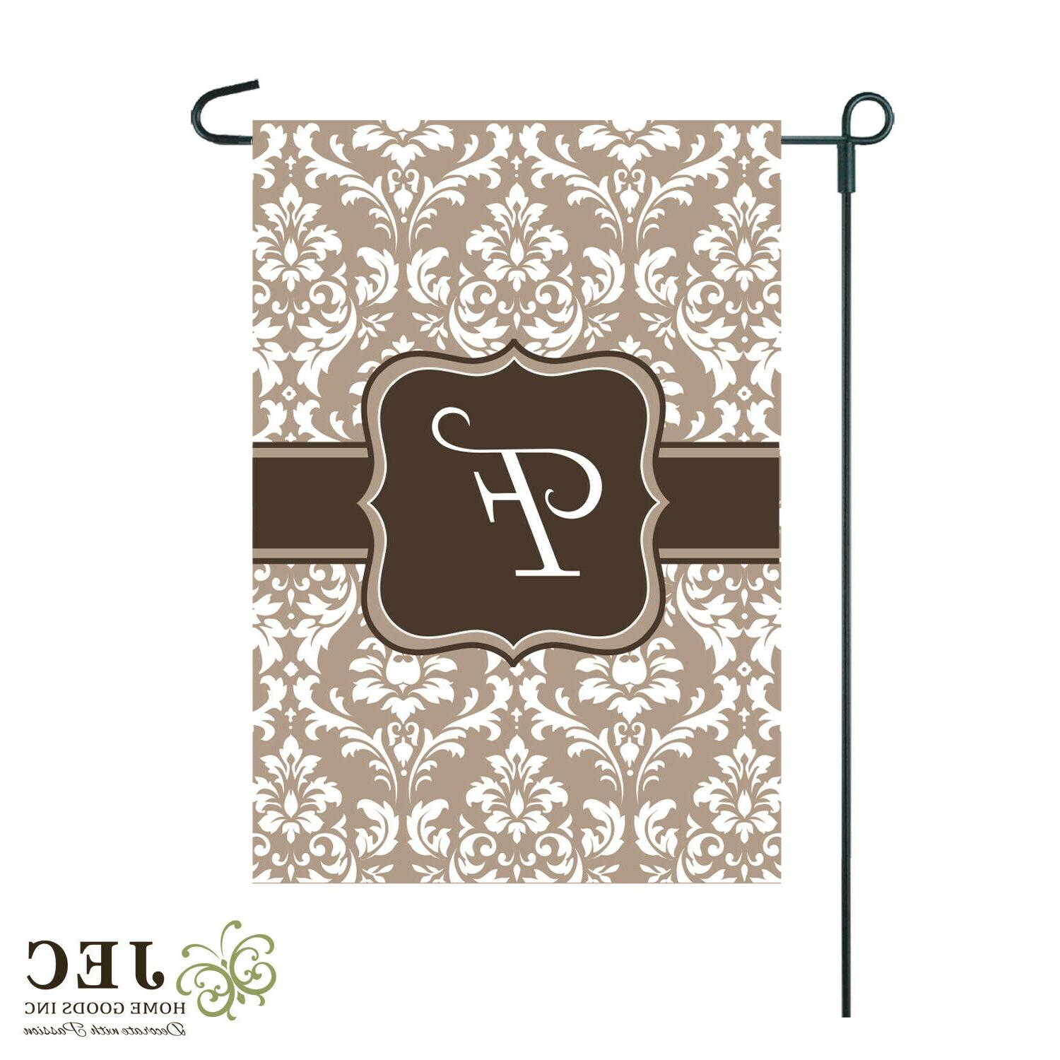 summer home garden flag cream damask burlap