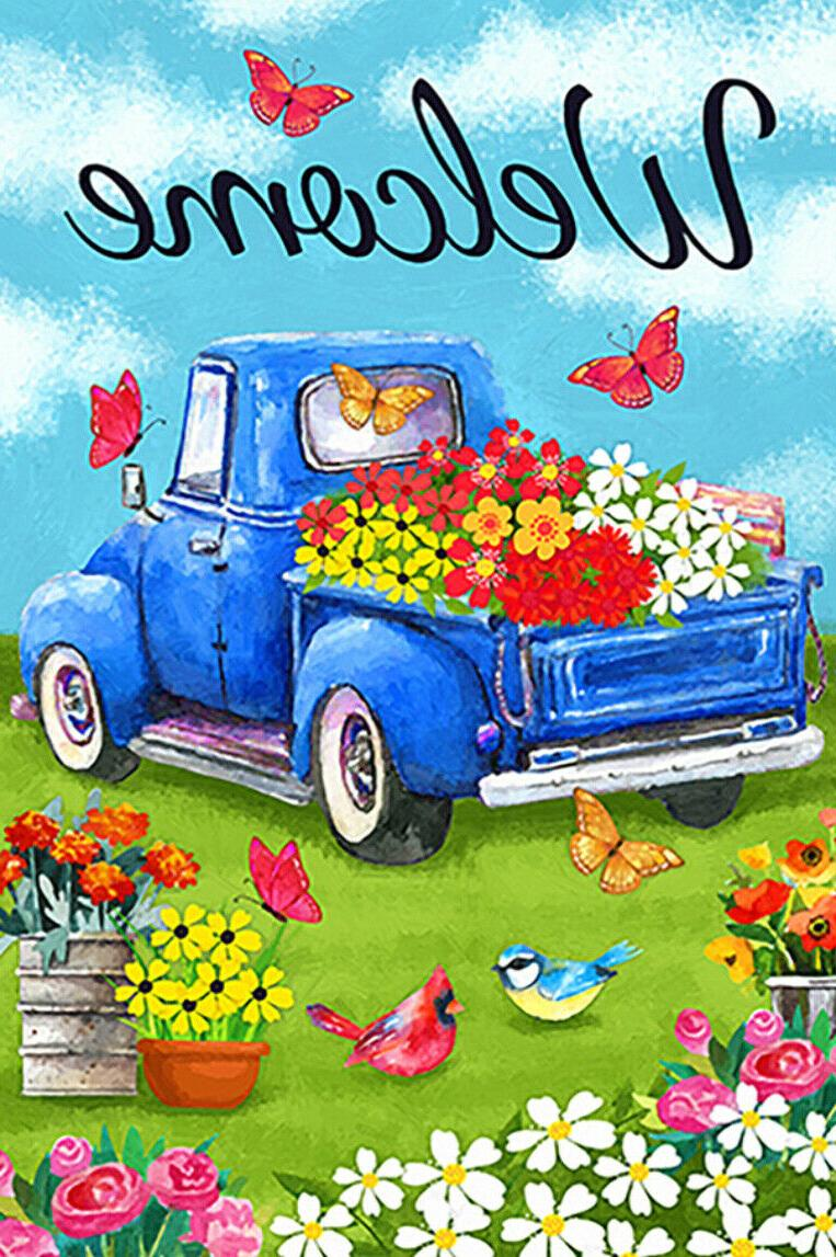 welcome flower old blue truck spring daisy