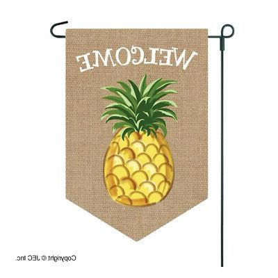 welcome garden flag pineapple high quality burlap