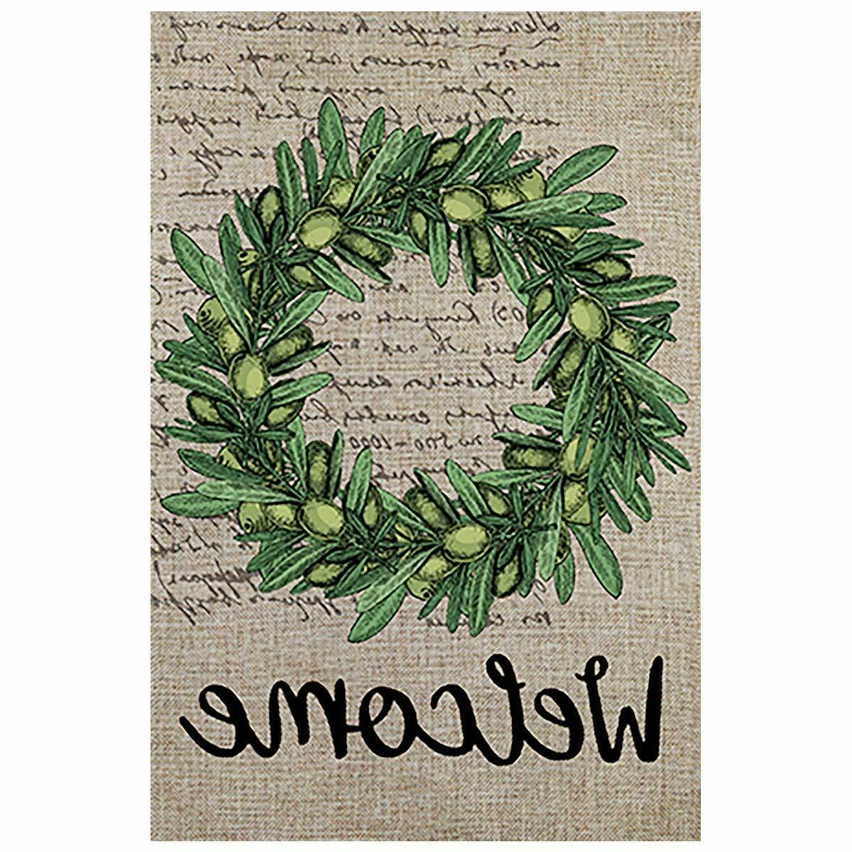 welcome olive wreath double sided summer yard