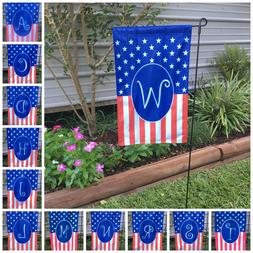 Monogrammed Holiday Small Garden Flag 4th July, USA America