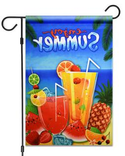 "NEW Enjoy Summer Drinks & Fruits Garden Flag 12""X18""  Summer"