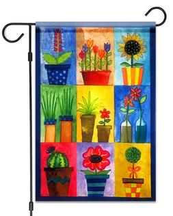 "NEW Flower Pots Garden Flag 12""X18"" Spring Summer Flowers De"
