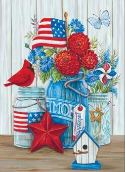 """PATRIOTIC FLOWERS and CARDINAL YARD GARDEN FLAG 2-SIDED 12"""""""