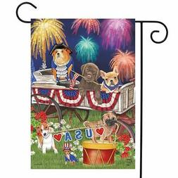 Patriotic Pups Fourth of July Garden Flag Fireworks Dogs USA