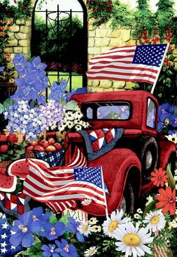 patriotic welcome july 4th red truck flower