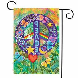 "Peace Floral Garden Flag Primitive Everday 12.5"" x 18"" Briar"