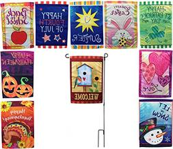 Beech Lane Seasonal Garden Flag Set of 10- Metal Pole Includ