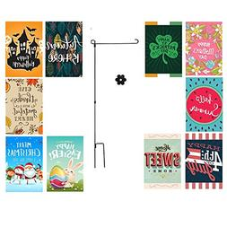 Happy Bug Seasonal Garden Flags Set For Outdoors | 10 Pack A