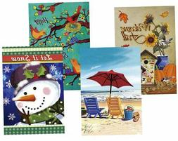 Morigins Seasonal Holiday Double Sided Garden Flags Set of 4