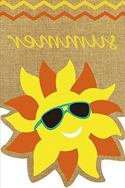 "Summer Sunface Burlap Garden Flag Seasonal Sunshine 12.5"" x"