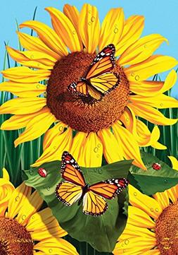 Sunflower Field Summer Garden Flag Butterflies Floral 12.5""