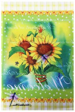 "Sunflowers & Dragonfly Welcome Garden Flag 12""X18"" Welcome S"