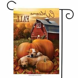 "Welcome Fall Puppies Garden Flag Pumpkins Fall Barn 12.5"" x"