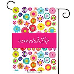 Welcome Floral Garden Flag Double-sided Vivid Color Flowers