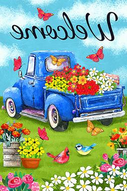 Morigins Welcome Flower Old Blue Truck Spring Daisy Double S