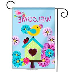 Welcome Garden Flag Birds Flowers and Ladybugs| Double-sided