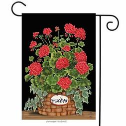 "Welcome Geraniums Summer Garden Flag Floral Basket 12.5"" x 1"