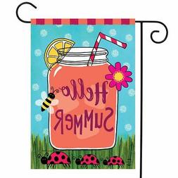 "Welcome Summer Lemonade Garden Flag Mason Jar 12.5"" x 18"" Br"