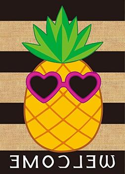 JoyPlus Welcome Summer Pineapple Sunglasses Garden Flag - Ve